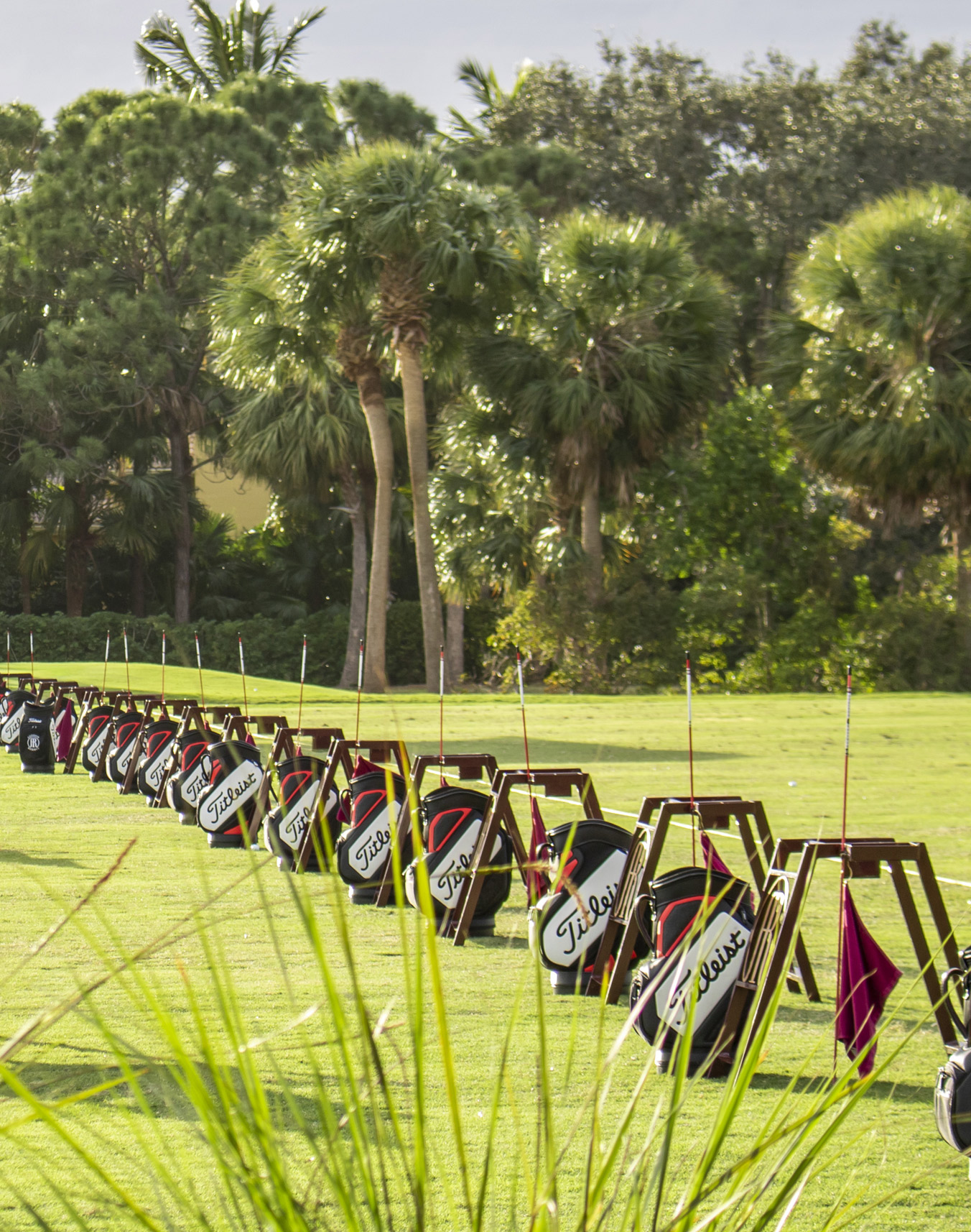 Golf bags lined up at Addison Reserve in Florida