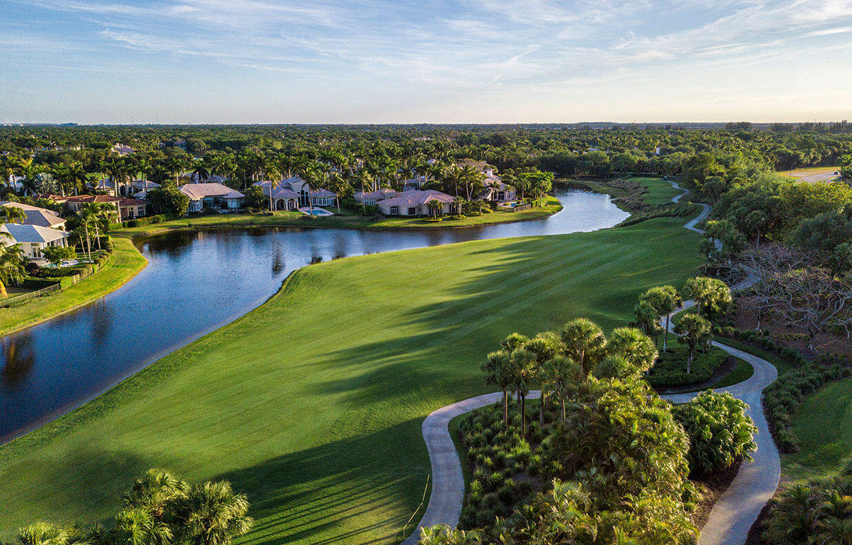 Aerial photo of golf course at Addison Reserve in Florida